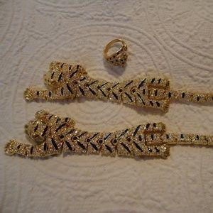 Exquisite 3 Pc Tiger Set ~ Ring Bracelet Brooch